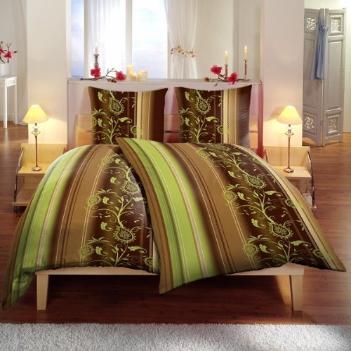 bettw sche 135x200 rei verschluss milva mikrofaser ornamente flower braun gr n ebay. Black Bedroom Furniture Sets. Home Design Ideas