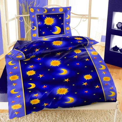 sonne mond sterne bettw sche 135x200 rei verschluss mikrofaser blau ebay. Black Bedroom Furniture Sets. Home Design Ideas